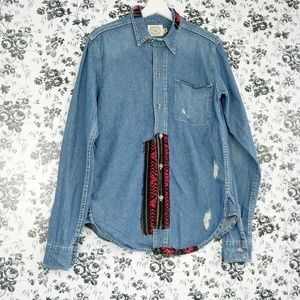 ADL distressed tribal denim button down shirt